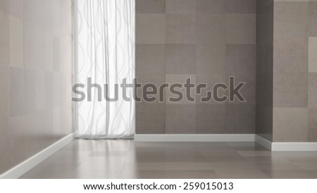 Empty room with granite tile walls 3D rendering  #259015013