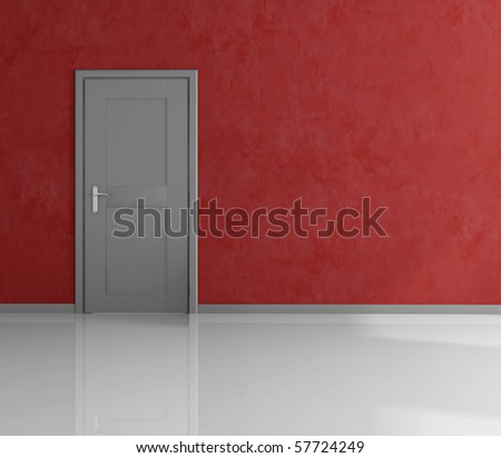 empty room with gray closed door and stucco wall - rendering