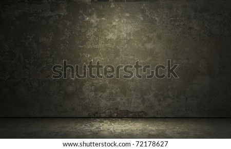 empty room with grunge concrete wall and cement floor 3d background