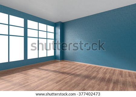 stock photo empty room with hardwood parquet floor big window walls with blue textured wallpaper and sunlight 377402473 - Каталог - 3d фотообои