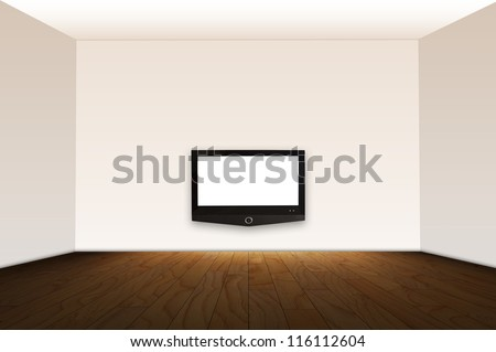 Empty room with HD TV at the wall