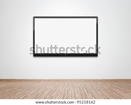 Empty room with HD TV at the wall, clipping path for the screen included