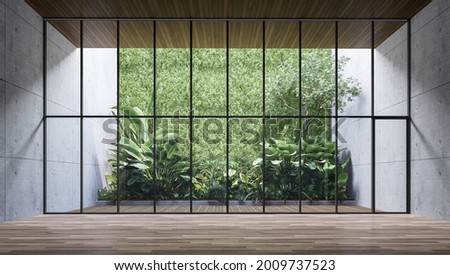 Empty room with large window to see wooden courtyard and green tropical tree wall background 3d render illustration Foto d'archivio ©