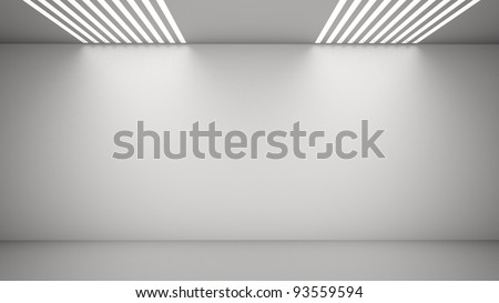 Empty room with light coming from above through vents