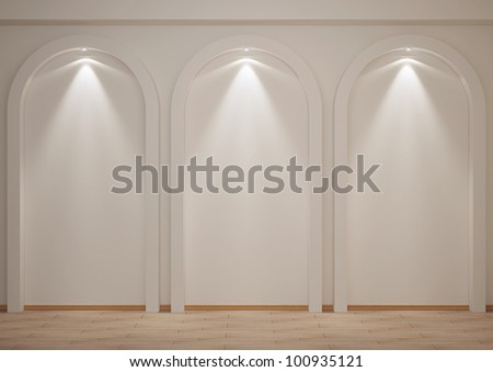 empty room with niches and backlights - 3d illustration