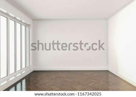 Empty room with oak parquet flooring, window, and newly painted white walls. 3D rendering.