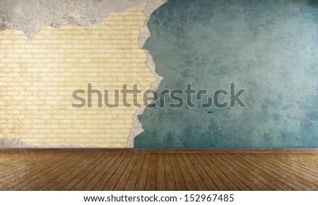 Empty room with old cracked wall and brick - rendering