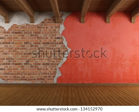 Empty room with old cracked wall and wooden ceiling - rendering