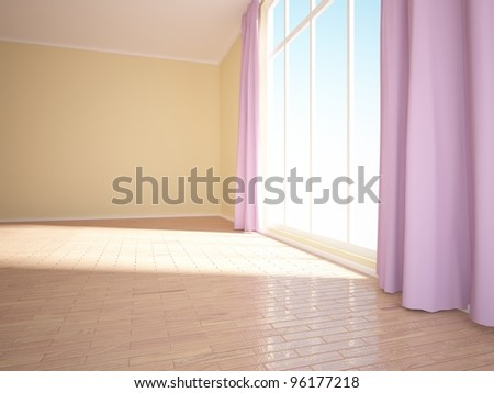 empty room with purple curtains