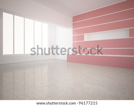empty room with red wall