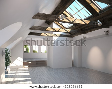 Empty room with rustic timber ceiling and skylights