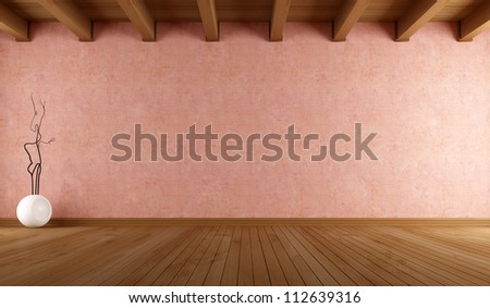 empty room with salmon pink stucco wall and wooden ceiling - rendering