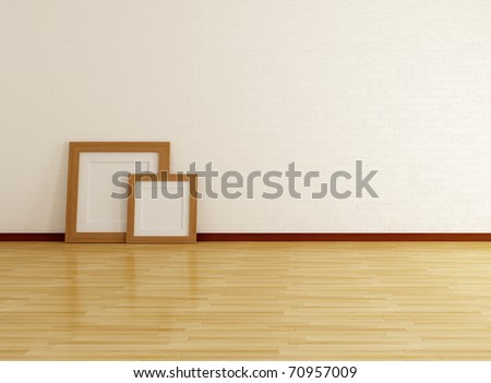 empty room with two wooden frame placed on the floor-rendering