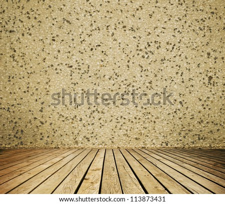 Empty room with wall and wooden floor interior background