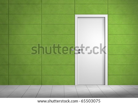 Empty room with white door and green wall