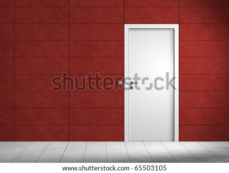Empty room with white door and red wall