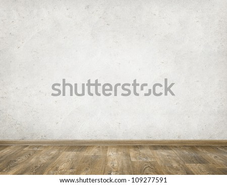 Empty room with white wall and wooden floor interior background