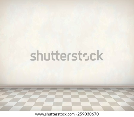 Empty room with white wall, tile floor. Classical interior