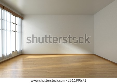 Empty room with white walls, wooden parquet floor and window with white curtains, 3D illustration