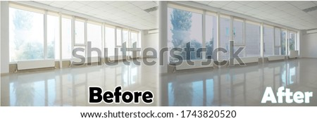 Empty room with windows before and after tinting ストックフォト ©