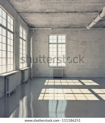 empty room with windows (illustration)