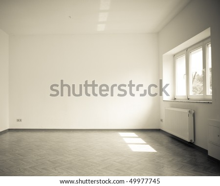 empty room with windows, vintage, dark monochrome