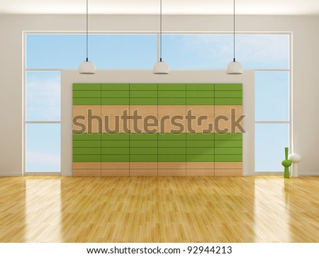 empty room with wood and laminate green  panels - rendering