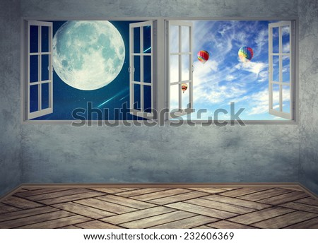 Empty room with wood floors two windows night sky with moonlight and daylight skyline with flying balloons. Screen saver image of a dreamland imagination. Apartment home interior Screen saver