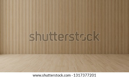 Empty  room with wood wall and floor,3D rendering