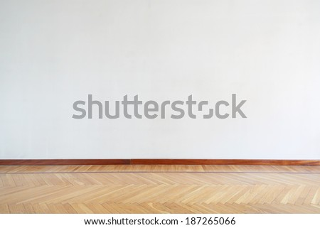 Empty room with wooden floor, parquet