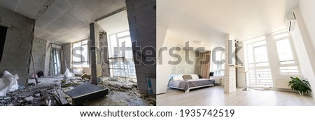 Empty rooms with large window, heating radiators before and after restoration. Comparison of old apartment and new renovated place. Concept of home refurbishment. Stock foto ©