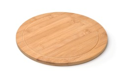 Empty round bamboo pizza board isolated on white
