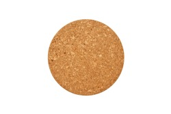 Empty round cork coaster, isolated on white background. Top view image.