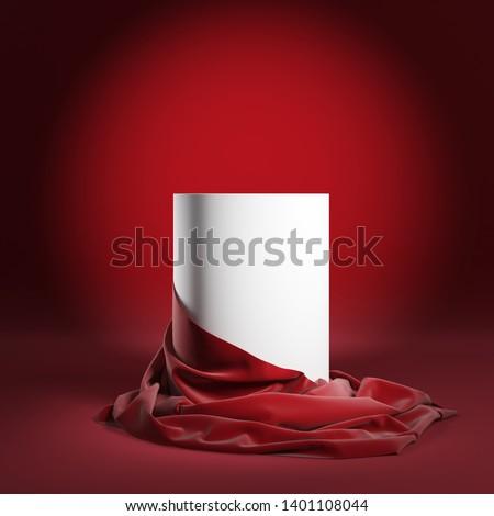 Empty round podium or presentation pedestal with red silk cloth. 3d illustration Stockfoto ©