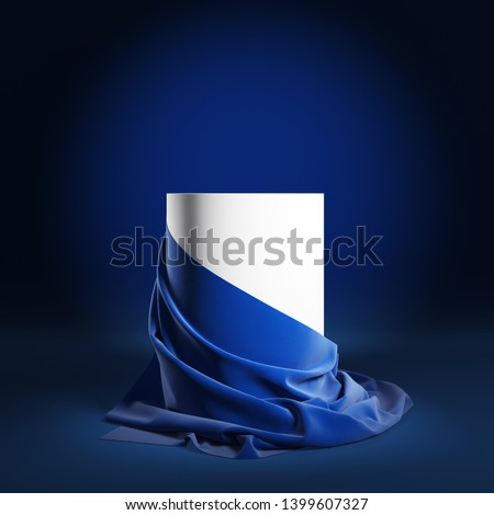 Empty round podium with blue silk cloth. 3d illustration Stockfoto ©