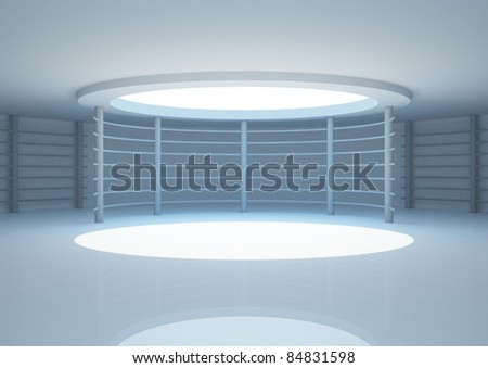 empty round room with constructions and skylight, interior showroom - 3d illustration