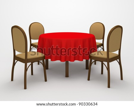 Empty, round table, red cloth and four chairs on a white background