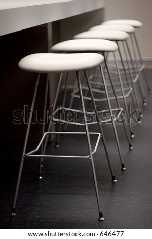 Empty row of steel chairs at a bar