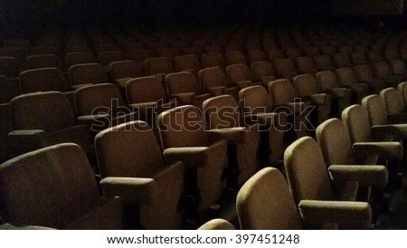 Empty rows of theater or movie seats. #397451248