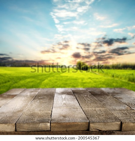 empty rural table and country sky of sun  #200545367