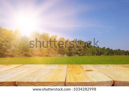 Empty rustic table in front of countryside background. product display and picnic concept #1034282998