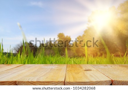 Empty rustic table in front of low angle view of fresh grass. product display and picnic concept