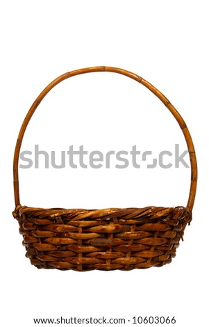 Empty rustic wicker basket isolated on white