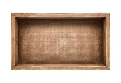 Empty rustic wooden box isolated on white