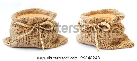 Empty sack on a white background - stock photo
