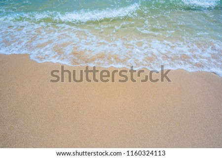 Empty sand beach with wave background. Summer Vacation Travel and Holiday concept #1160324113