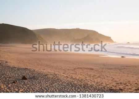 Empty Sandy Amado Beach in Algarve; Portugal