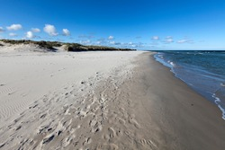 Empty, sandy seashore in spring. Soft sand waits for the tourists. Waves in the water, unbroken horizon.