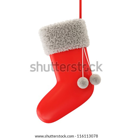 Empty Santa Sock isolated on white background - stock photo