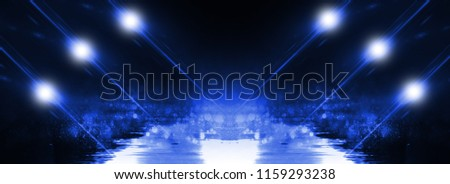 Empty scene of a show with lanterns and concrete floor, abstract background with bokeh, lights, rays #1159293238
